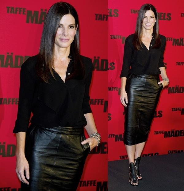 Sandra Bullock rocked a billowy Michael Kors blouse, an ASOS pencil skirt