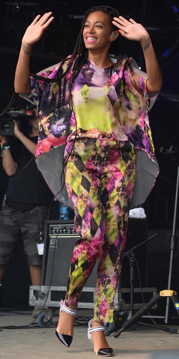 Solange Knowles wearingcolorfully printed Teatum Jones pants