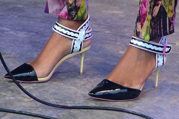 Solange Knowles shows off her feet in Sophia Webster shoes