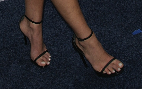 "Jordana Brewster's pretty feet in Saint Laurent ""Jane"" sandals"