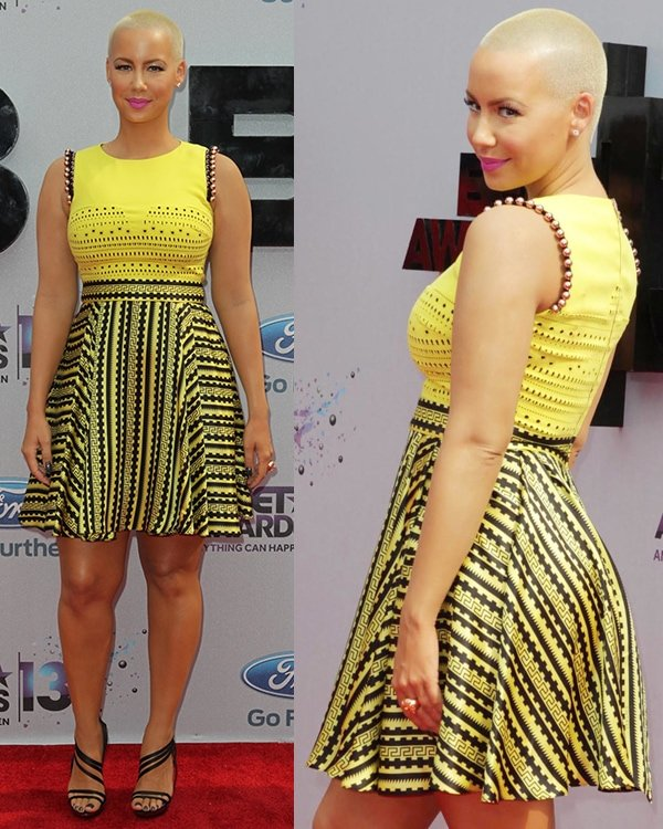 Amber Rose rocks a bright yellow dress at the 2013 BET Awards