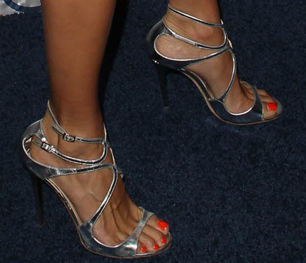 Angie Harmon shows off her hot feet in Jimmy Choo heels