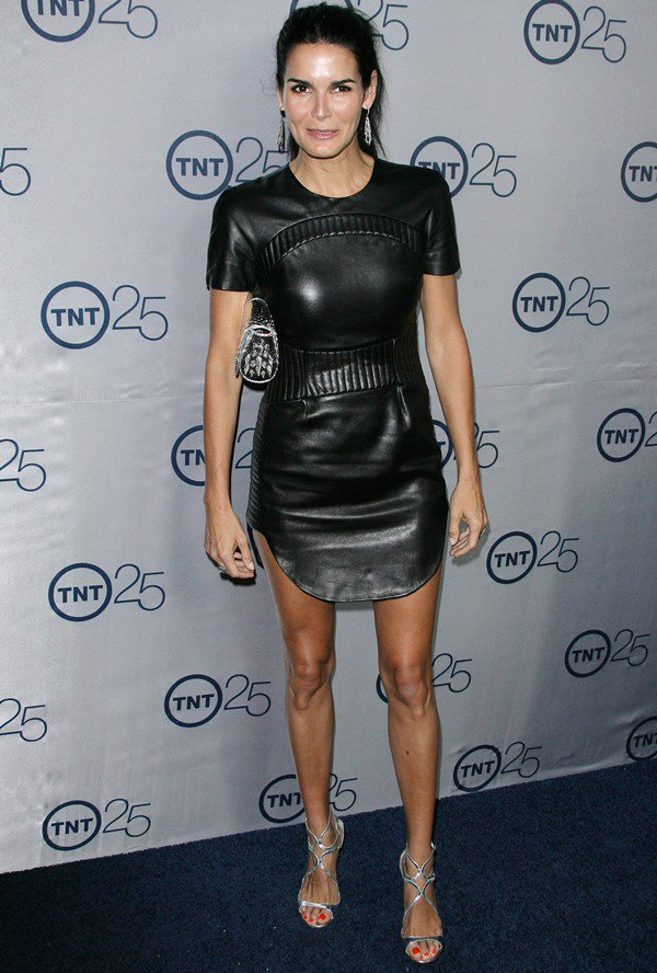 Angie Harmon flaunts her legs in an Azede Jean-Pierre mini dress