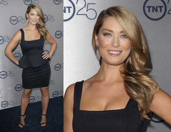Briga Heelan in a black peplum dress at TNT's 25th Anniversary Party