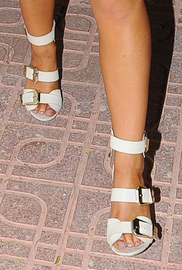 Chelsee Healey shows off her feet in white sandals