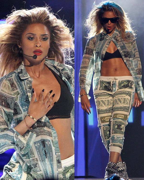 Ciara performing on stage at the 2013 BET Awards held at Nokia Theatre in Los Angeles on June 30, 2013
