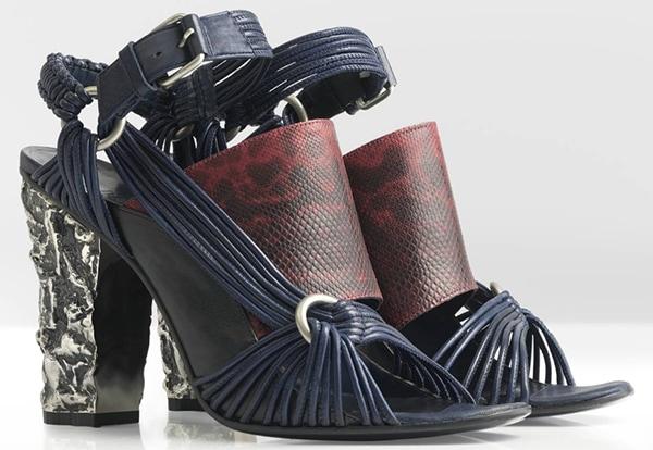 Damir Doma Spring 2013 Sandals Navy Red Snakeskin