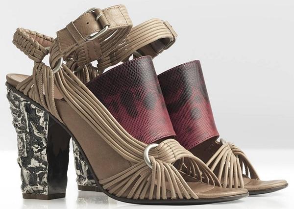 Damir Doma Spring 2013 Sandals Tan Red Snakeskin