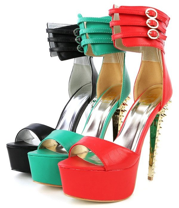 Dior-01 ankle cuff spike platform heels