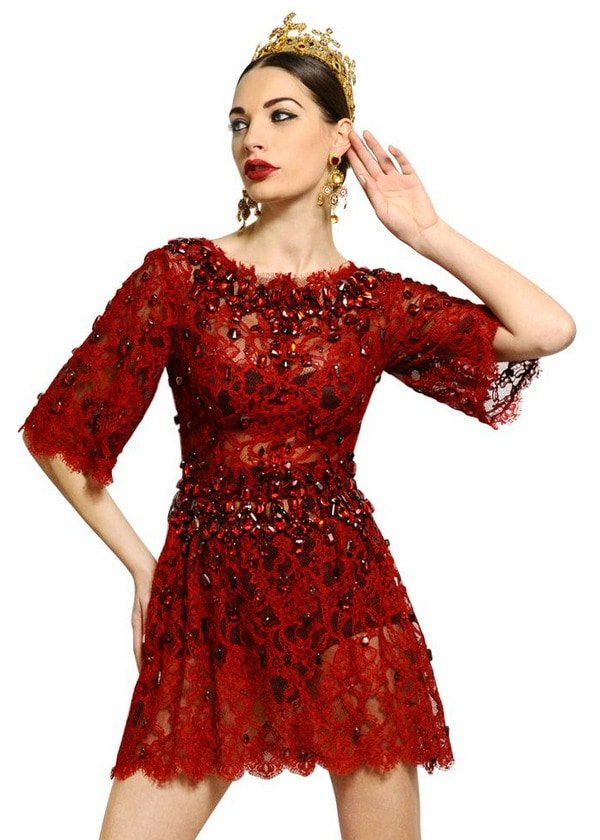 Dolce & Gabbana Jewel-Embroidered Lace Dress