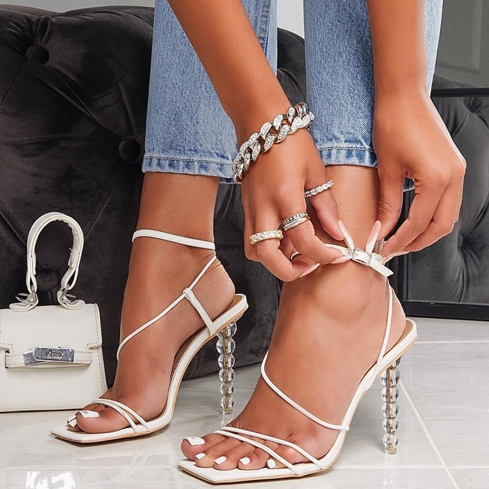 Drama-Queen Barely There Clear Perspex Sculptured Heels