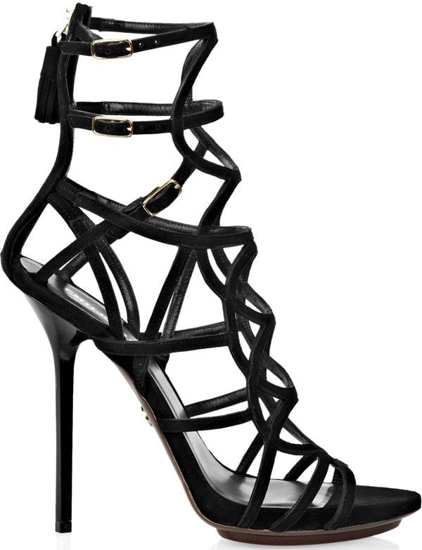 Emilio Pucci Multistrap Suede Sandals