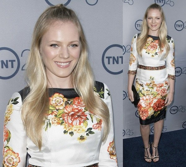 Emma Bell in a floral print dress at TNT's 25th Anniversary Party