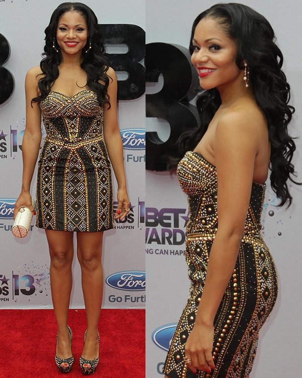 Erica Hubbard rocked a dress embellished with gold and silver studs at the 2013 BET Awards