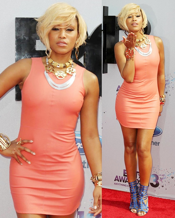 Eve in a salmon-colored body-con dress at the 2013 BET Awards