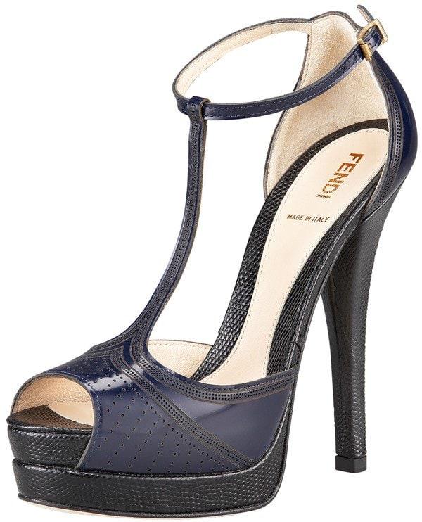 Fendi Laser-Cut T-Strap Sandals