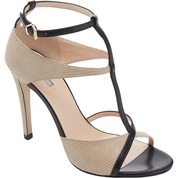 Giorgio Armani Two-Tone Asymmetric T-Strap Sandals