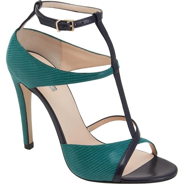 Giorgio Armani Two-Tone Asymmetric T-Strap Sandals1