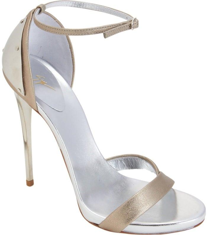 Giuseppe Zanotti Plated-Heel Sandals in Metallic Gold