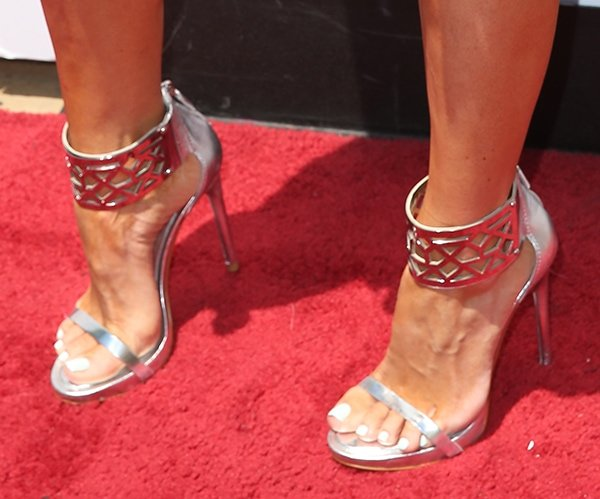 Gretchen Christine Rossi wearing BCBGMAXAZRIA 'Estie' sandals in silver