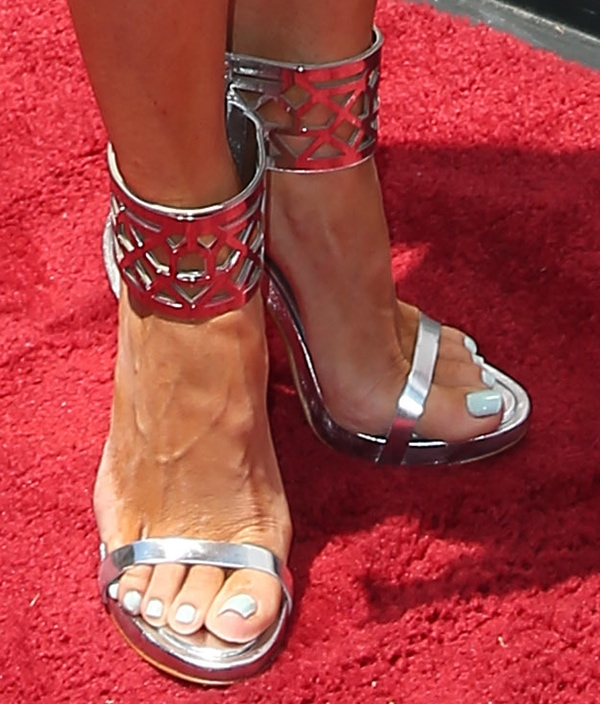 Gretchen Christine Rossi wearing BCBGMAXAZRIA 'Estie' sandals in silver