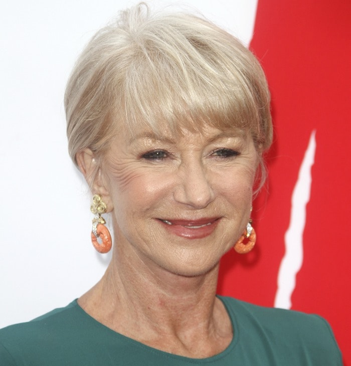 Helen Mirren wearing an elegant green dress from Elie Saab at the red carpet premiere of 'RED 2' in Los Angeles on July 11, 2013