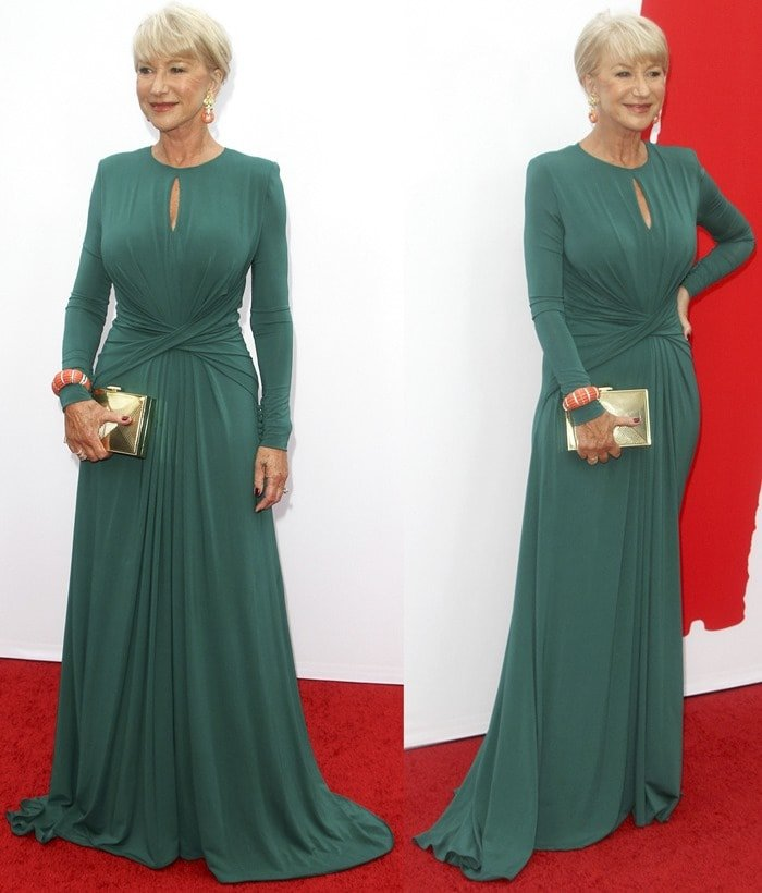 Helen Mirren wearing a pair of stripper heels with her elegant green dress (from Elie Saab) at the red carpet premiere of 'RED 2' in Los Angeles on July 11, 2013