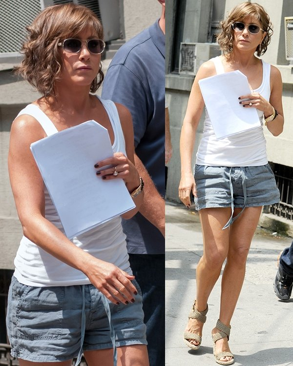 Jennifer Aniston with short curled hair