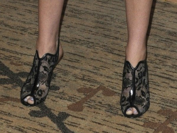 Jennifer Lawrence wearing Nicholas Kirkwood lace booties