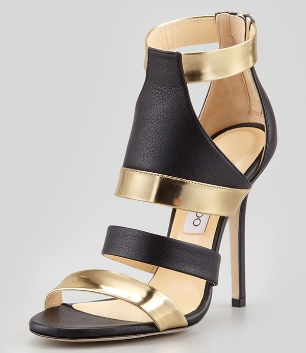 Jimmy Choo Besso Mixed-Leather Sandals