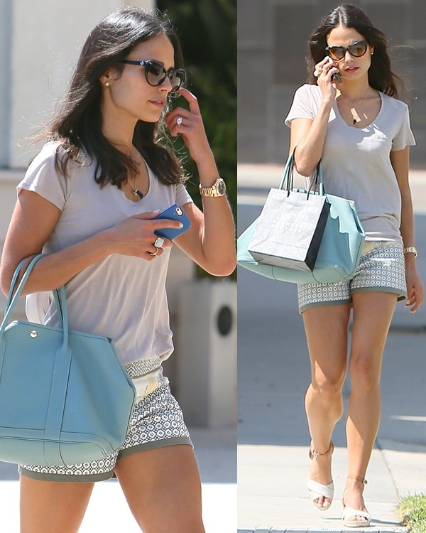 Jordana Brewster in a tee and shorts while out and about in Beverly Hills