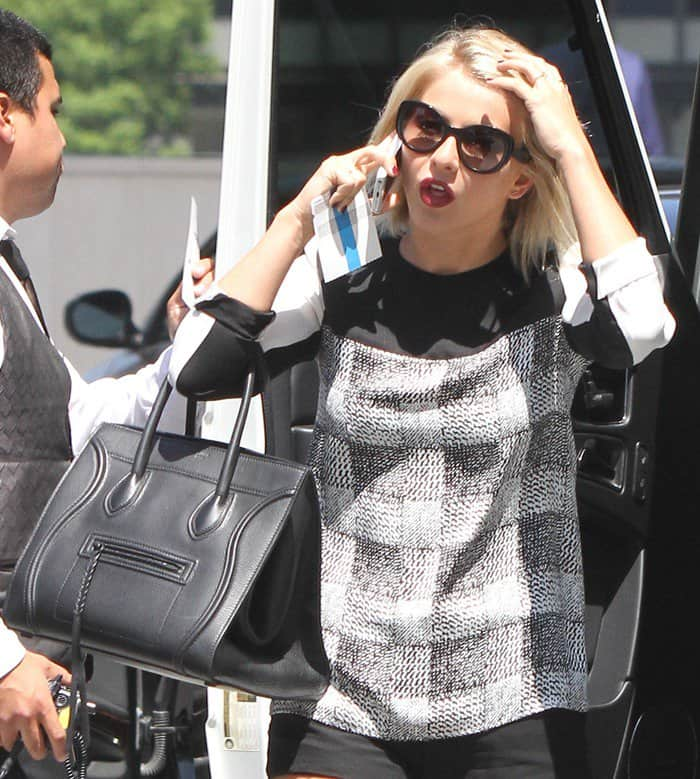Julianne Hough is seen arriving at a hotel in Century City
