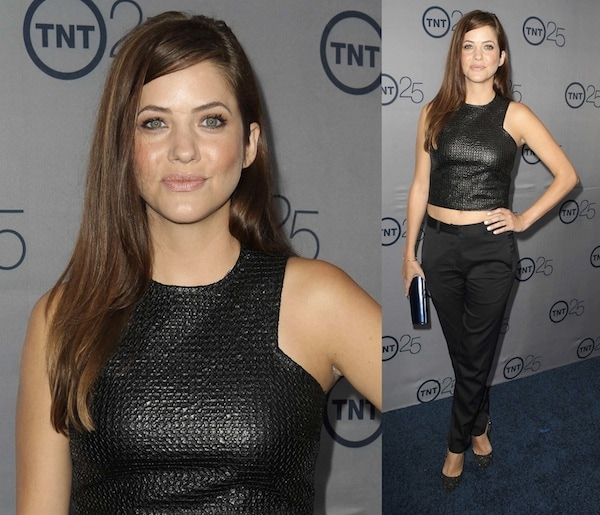 Julie Gonzalo in a sleeveless cropped top and cropped pants at TNT's 25th Anniversary Party
