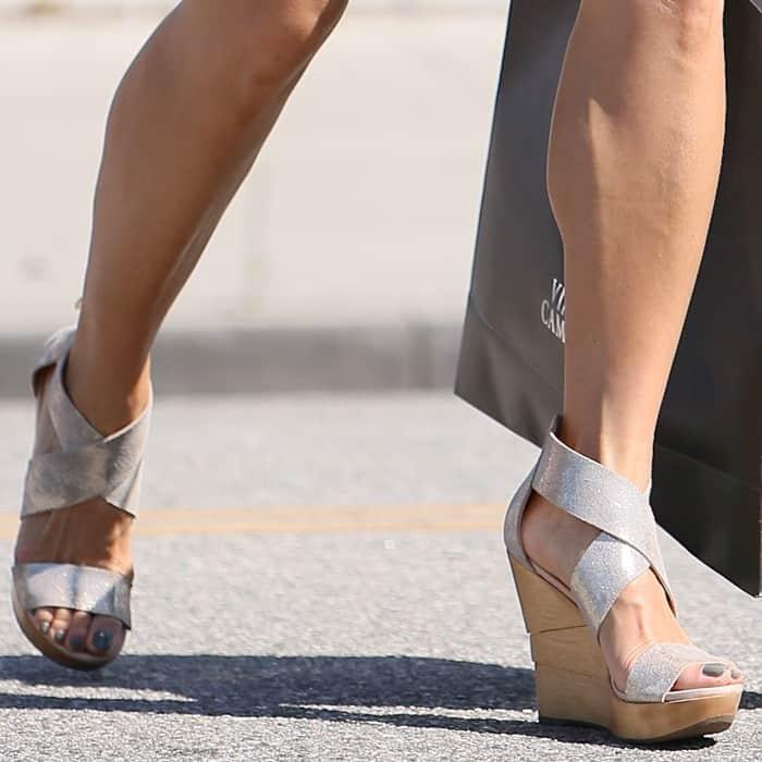Kelly Hu Wears Diane Von Furstenberg Opal Wedge Sandals