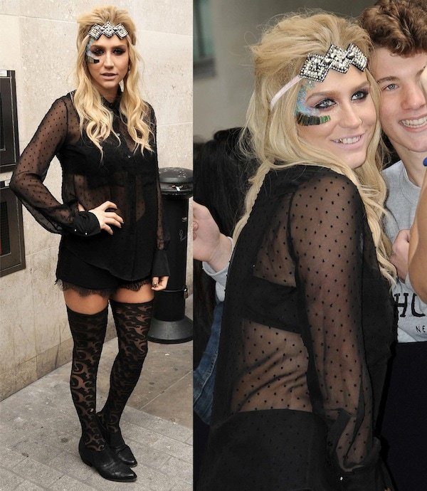 Kesha interview with Nick Grimshaw  sc 1 st  Your Next Shoes & How to Wear Thigh-High Stockings with Oxfords and Boots Like Ke$ha