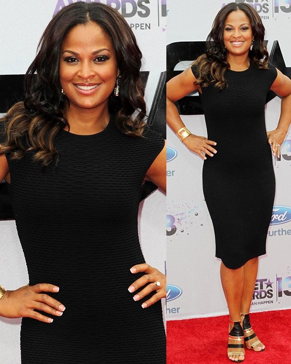 Laila Ali rocked a simple black dress at the 2013 BET Awards