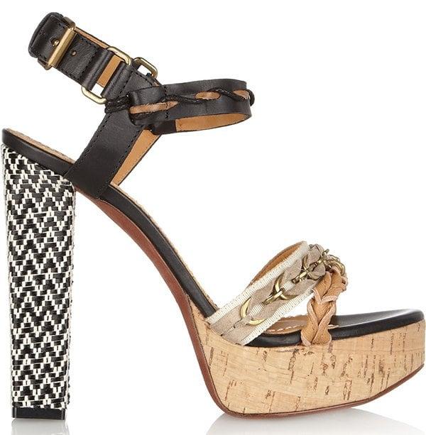 Lanvin Leather and Raffia Sandals1