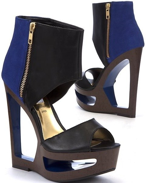 Limited Black and Blue Colour Block Cut Out Zip Leather Wedges