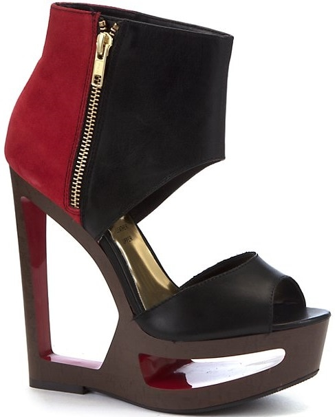 Limited Black-and-Red Color Block Cutout Wedges