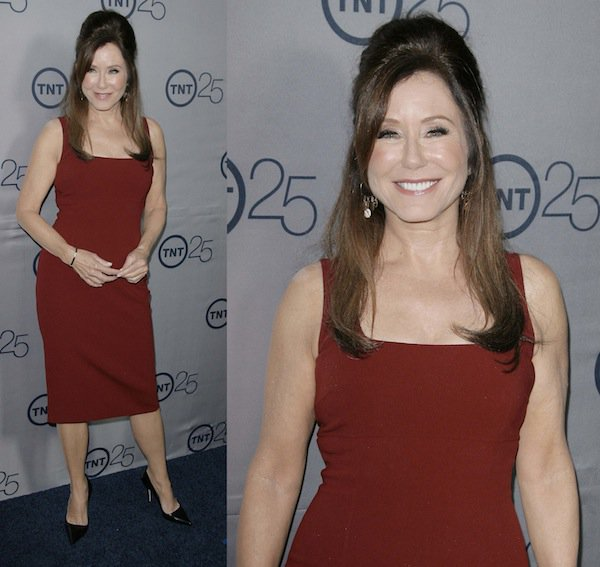 Mary McDonnell in a dark red dress at TNT's 25th Anniversary Party