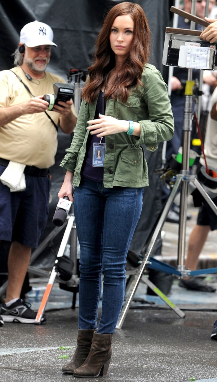 Megan, who plays the role of a reporter in the TMNT reboot, looked gorgeous in Rag & Bone booties