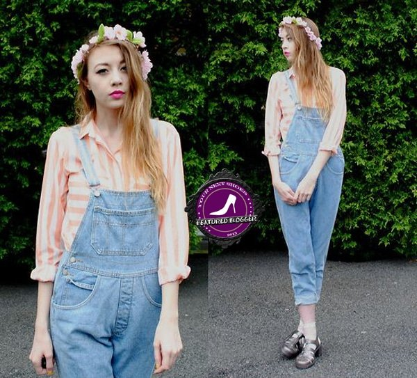 Megan in denim overalls and jelly sandals