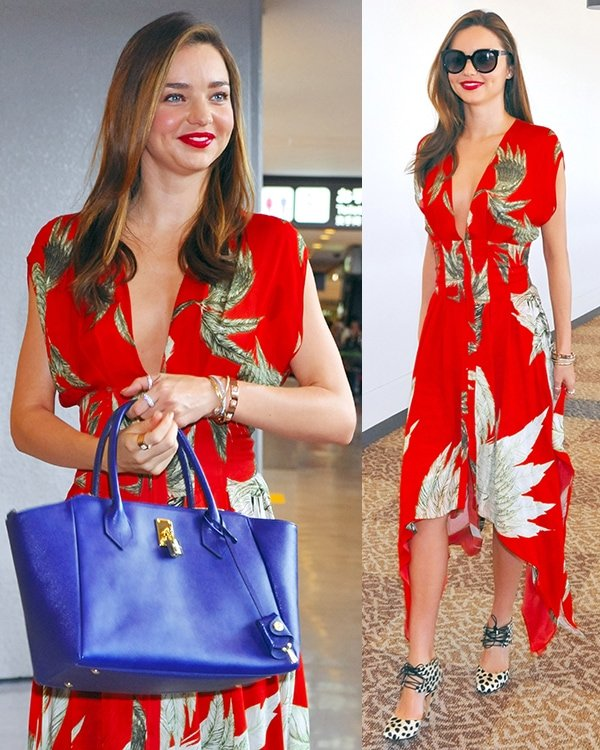 Miranda Kerr wore a Wes Gordon's handkerchief corset dress in a different fabric, which we think was made exclusively for her