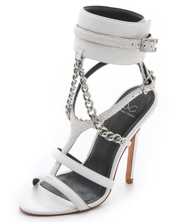 Monika Chiang Domina Chain Cuff Sandals in White