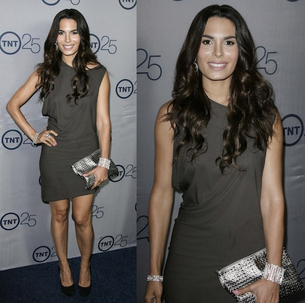 Nadine Velazquez in a short bronze dress at TNT's 25th Anniversary Party