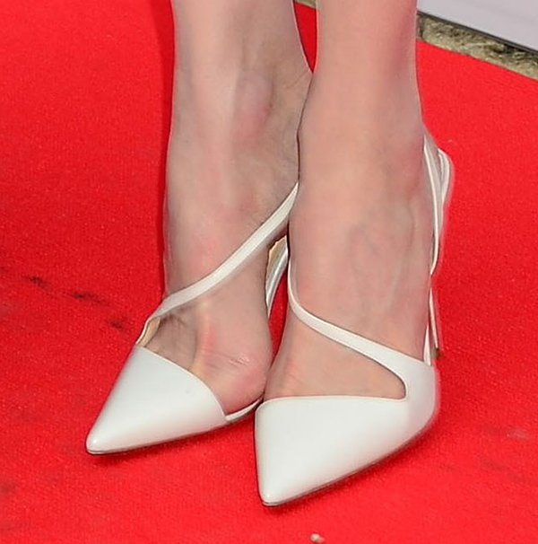 Nicole Kidman in white Christian Louboutin June pumps
