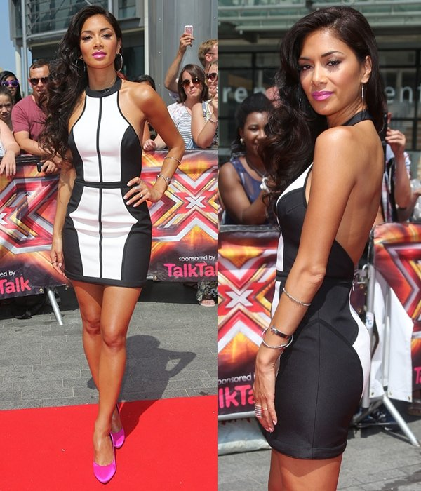 Nicole Scherzinger looked as hot as ever in a Finders Keepers monochrome mini dress that showed off her enviable curves