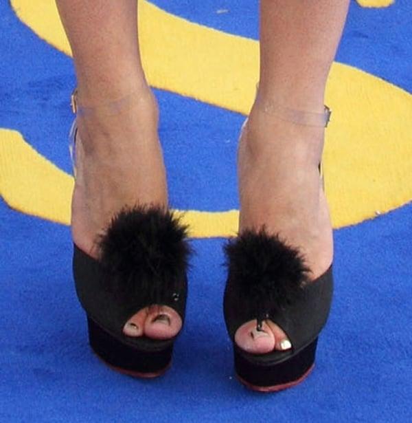 Ophelia Lovibond wearsCharlotte Olympia Colette sandals