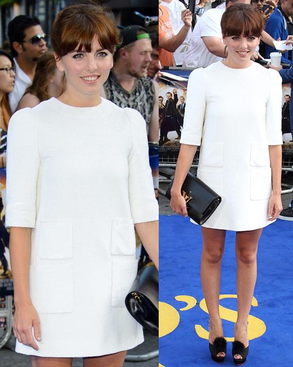 Ophelia Lovibond in awhite structured dress at the world premiere of The World's End
