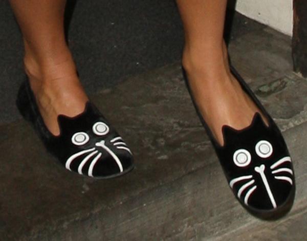 Pixie Lott's feet in cat slippers